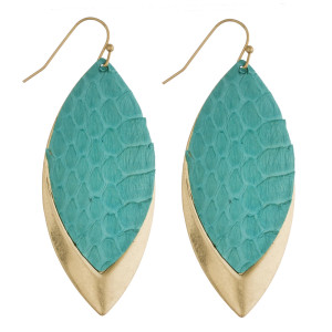 """Metal plated pointed oval earrings with faux leather snakeskin details. Approximately 2"""" in length."""