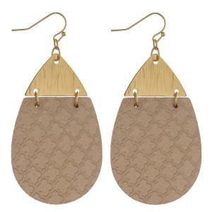 """Metallic faux leather geometric teardrop earrings. Approximately 2.5"""" in length."""