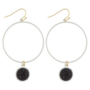 """Round metal earrings featuring a druzy accent. Approximately 2.5"""" in length."""