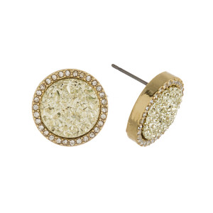 """Druzy disc stud earrings with cubic zirconia accents. Approximately .5"""" in diameter."""