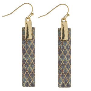 "Wood inspired geometric bar earrings. Approximately 2"" in length."