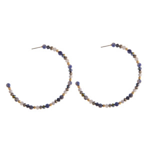 """Semi precious beaded hoop earrings featuring natural stone and faceted bead details. Approximately 2.5"""" in diameter."""