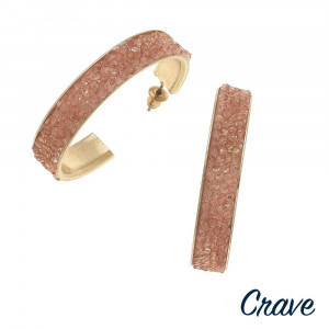 """Rhinestone beaded / druzy inspired hoop earrings. Approximately 1.5"""" in diameter."""