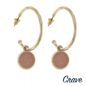 """Metal hoop earrings featuring a druzy accent. Approximately 2"""" in length."""