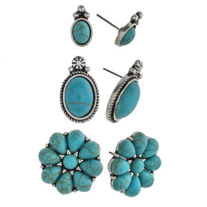 """Trio antique silver natural stone stud earring set. Approximately 1cm to .75"""" in size."""