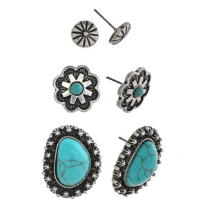 """Trio antique silver natural stone flower stud earring set. Approximately 1cm to 1"""" in size."""