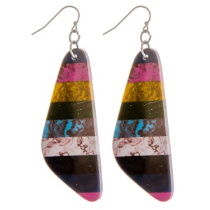 """Multicolor natural stone inspired resin oblong earrings.  - Approximately 3"""" in length"""
