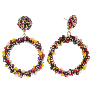 """Faceted seed beaded open circle dangle earrings. Approximately 2.5"""" in length."""
