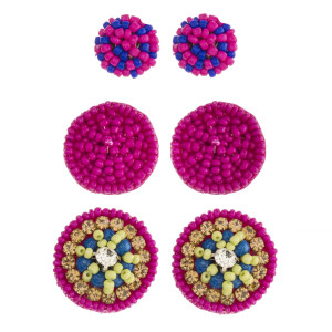 """Trio seed beaded felt disc earring set featuring rhinestone accents. Approximately .5"""" in diameter - 1"""" in diameter."""