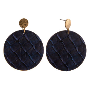 """Faux leather disc dangle earrings. Approximately 2"""" in diameter and 2"""" in length."""