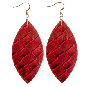 """Faux leather pointed oval dangle earrings. Approximately 3"""" in length."""