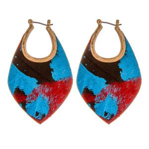 "Genuine leather metallic fur pin catch hoop earrings. Approximately 2"" in length."