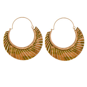 """Metallic genuine leather feather wire hoop earrings. Approximately 2"""" in length."""