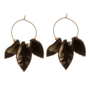 """Genuine leather metallic fur accented wire hoop earrings. Approximately 2"""" in length."""