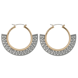 """Hole punch faux leather metal pin catch hoop earrings. Approximately 2"""" in length, 2.5"""" in width."""