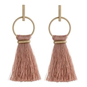 """Fringe fan tassel bar stud drop earrings.  - Approximately 3"""" L"""