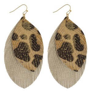 """Faux fur leopard print metallic double layered feather earrings. Approximately 3.5"""" in length."""