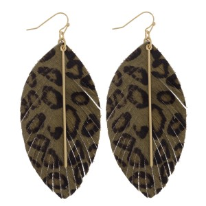 """Faux fur leopard print feather earrings featuring gold bar accent. Approximately 3.5"""" in length."""
