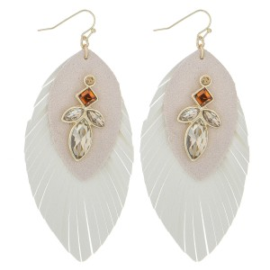 """Faux leather rhinestone feather earrings.   - Approximately 3.5"""" in length"""
