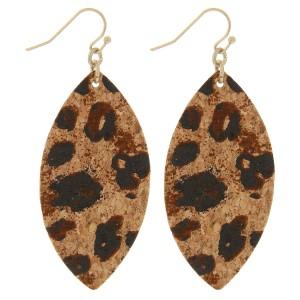 """Leopard print cork earrings.  - Approximately 2.5"""" in length"""
