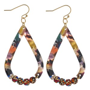 """Multicolor resin teardrop earrings featuring rhinestone studded beaded details. Approximately 2.5"""" in length."""