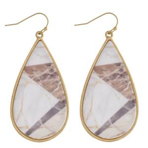 """Matte marble resin teardrop earrings. Approximately 2.5"""" in length."""