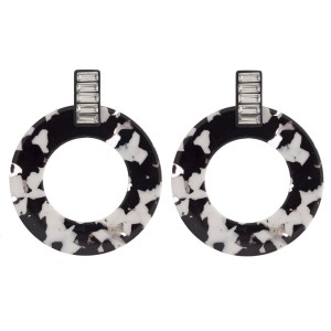 """Marble resin open circle earrings with rhinestone stud post. Approximately 2"""" in length."""