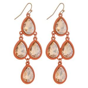 """Two tone rhinestone encased teardrop chandelier earrings.   - Approximately 2.75"""" in length"""