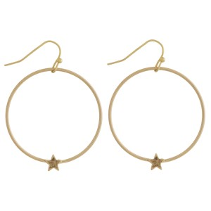 """Metal open circle star drop earrings. Approximately 1.5"""" in length."""