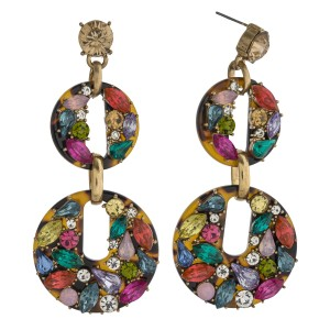 """Heavyweight rhinestone studded resin statement earrings. Approximately 3"""" in length."""