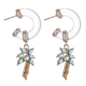 """Rhinestone palm tree resin hoop drop earrings.   - Approximately 2"""" in length"""