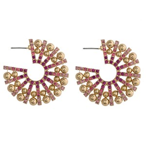 "Rhinestone encased ball beaded burst open hoop earrings. Approximately 1.5"" in diameter."