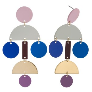 "Color block geometric drop earrings. Approximately 3"" in length."