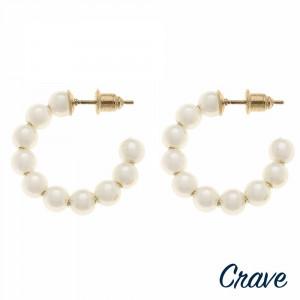 """Pearl beaded open hoop earrings. Approximately 1"""" in diameter."""