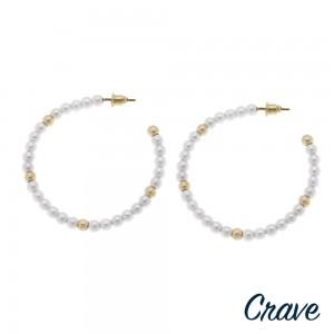 """Pearl beaded open hoop earrings. Approximately 2"""" in diameter."""