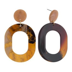 "Marble resin dangle earrings. Approximately 2.5"" in length."
