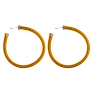 """Glittery jelly open hoop earrings.  - Approximately 2.25"""" in diameter"""