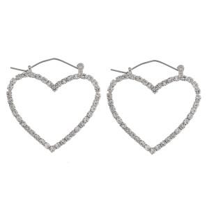 "Cubic zirconia heart pin catch hoop earrings. Approximately 1.5"" in length."