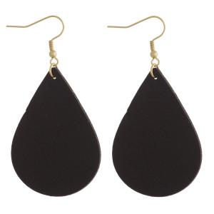 """Solid Faux Leather Teardrop Earrings.  - Approximately 2.5"""" Long"""