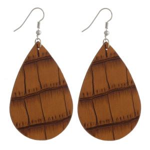 """Faux leather woven teardrop earrings. Approximately 2.5"""" in length."""