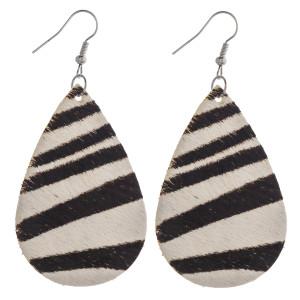 """Faux fur zebra print teardrop earrings. Approximately 2.5"""" in length."""