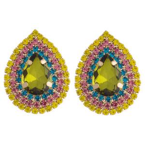 """Multicolor cubic zirconia rhinestone teardrop stud earrings. Approximately 1"""" in length."""
