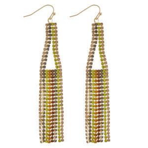 """Multicolor cubic zirconia triangle tassel earrings. Approximately 3.5"""" in length."""