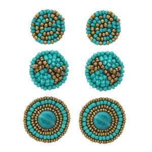 "Trio seed beaded felt disc earrings set. Approximately .5"" in diameter - 1"" in diameter."
