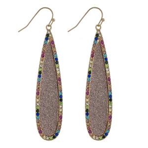 """Glittery rhinestone encased pave teardrop earrings. Approximately 2.5"""" in length."""