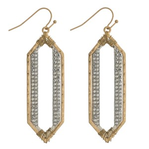 """Two tone rhinestone metal drop earrings with wire wrapped details. Approximately 2.5"""" in length."""