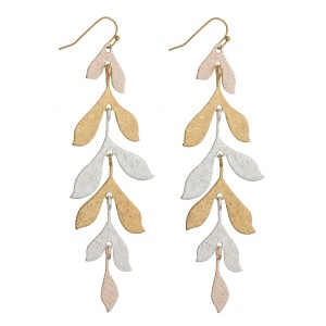 """Textured metal leaf drop earrings. Approximately 4"""" in length."""