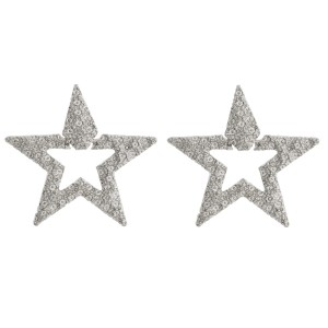 """Metal tone crinkled textured star earrings. Approximately 1.75"""" in length."""
