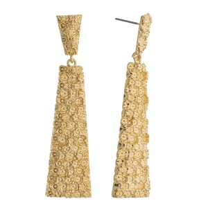 """Metal tone crinkled textured drop earrings. Approximately 2.75"""" in length."""