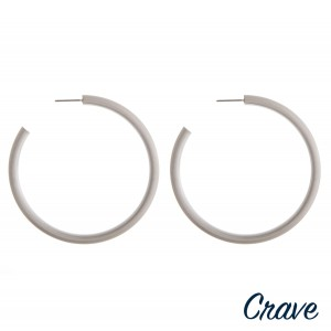 "Matte silver open hoop earrings.  - Approximately 2.25"" in diameter - Thickness 4mm in diameter"